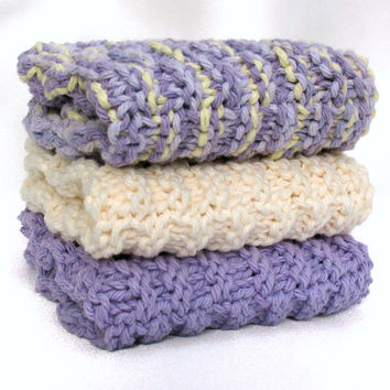 Knit Washcloth Facial Spa Cloth Cotton Face Cloth Lavender Purple