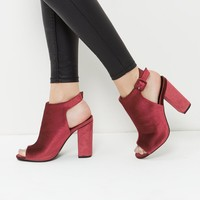 Dark Red Velvet Peep Toe Sling Back Block Heels