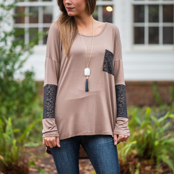 Leo Love Top, Mocha/Black