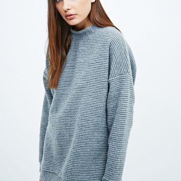 Light Before Dark Brushed Ribbed Sweatshirt in Grey - Urban Outfitters