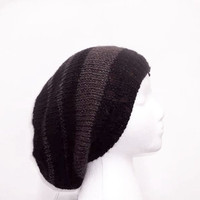 Knitted slouch hat black with brown stripes size large 5072