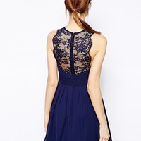 Elise Ryan Skater Dress with Scallop Lace Trim