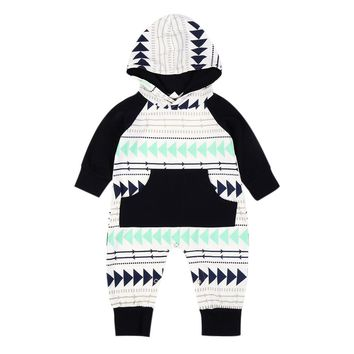 2017 Autumn Baby Girls Boys Romper Clothes Fashion Pattern Printed Hooded Long Sleeve Romper Jumpsuit Outfits Toddlers Costumes