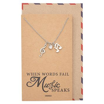 Mara Music Note Necklace, Gifts for Music Lovers, Music Jewelry