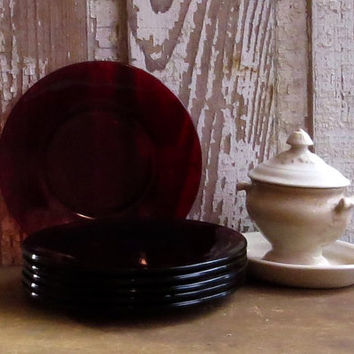 Vintage Anchor Hocking Ruby Red Depression Glass Bread Plates, Set of Six, Retro Dinnerware, Tableware, Cottage Retro Decor