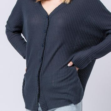 Minda Brushed Thermal Top in Navy