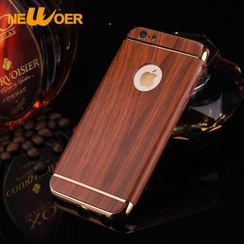 Wood Pattern Cover For iPhone 7 Plus Case 7s Plus Shell Traditional Sculpture PC Wood Hard Back 5.5 Inch Phone Pouch Newoer