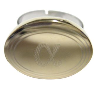 Gold Toned Etched Oval Greek Letter Alpha Adjustable Size Fashion Ring