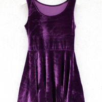 Purple Velvet Mini Dress by Batoko Clothing | Skater Sleeveless Pleated Evening Dress | Womens Ladies Dresses | BATOKO