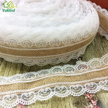 10M/Roll Natural Jute Burlap Hessian Lace Ribbon Roll White Lace Trim Edge Vintage Wedding Decoration Christmas Party Craft