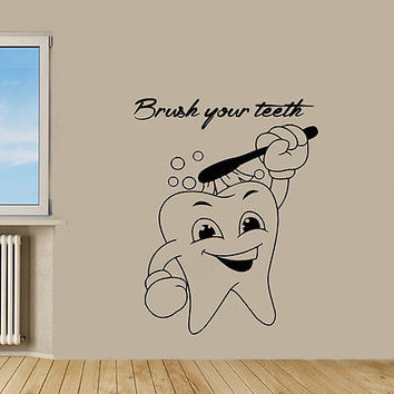 Wall Decals Cartoon Tooth Brush Your Teeth Vinyl Sticker Murals Wall Decor KG616
