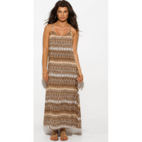 Women's KHAKI BROWN ABSTRACT ETHNIC PRINT BACKLESS EMBELLISHED EVENING MAXI SUN DRESS