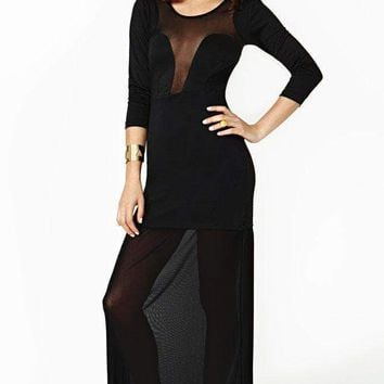 Fever Black Mesh Maxi Dress