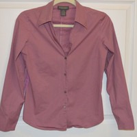 Banana Republic Shirt Top Small Button Down Stretch Pink Purple  Career