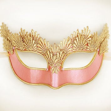 Pink & Gold Lace Masquerade Mask - Venetian Style Halloween Mask With Embroidery - For Masquerade Ball, Prom, Costume Party, Wedding