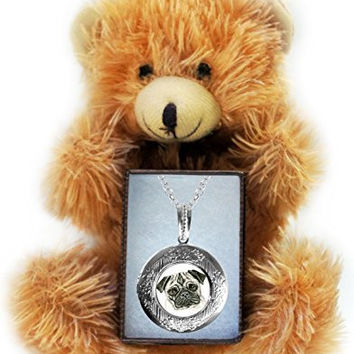 Pug Dog Art Silver Locket Necklace & Bear Gift Set