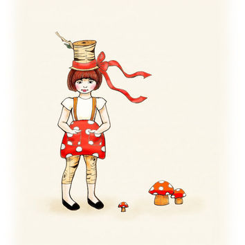 Kids wall art Woodland Girl Top Hat Red Mushroom by wonderlaneart