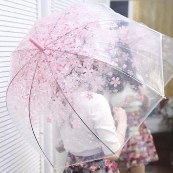 Attractive Flower Transparent Umbrella