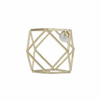 Hexagon And Hidden Pearl Ring - Cream