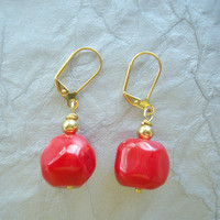Poppy Red Coral and Gold Earrings. Dash into Summer with Red.
