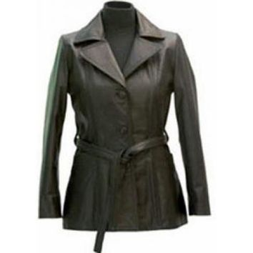 Womens Gage Leather Coat