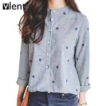 Vlent Leaves Embroidery Autumn Tops Cotton Casual Striped Long Sleeve Shirt Women Office Blouses Shirts Plus Size Blouse Blusas