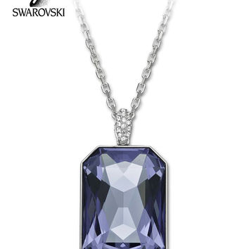 $195 Swarovski Large Tanzanite Crystal Pendant Necklace SYNTHESIS #1158003 New