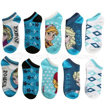 Licensed cool NEW Disney Frozen Queen Elsa and Princess Anna 5 PR NO SHOW Socks Ladies 9-11