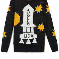 Rocket Pattern Long Sleeve Sweater