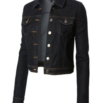 Womens black denim jean jacket – Modern fashion jacket photo blog