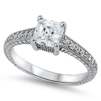 1 CT Princess Cut CZ Pave Band 925 Sterling Silver Solitaire Engagement Ring