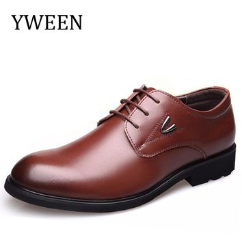 YWEEN Men Leather Shoes Hot Sale New Spring Autumn Fashion Business Lace-up Style Rubber Casual Man Oxford Dress Flat Shoe