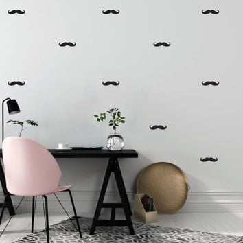 Mustache Wall Decals, Wall Stickers, Mustache Wall Stickers, Mustache Pattern, Vinyl Decal, Bedroom Wall Decal, Pattern Wall, Bedroom Decals