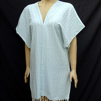 Women's unique baby blue and white herringbone patterned soft light weight cotton kimono poncho, beach cover up poncho, poncho cover up.