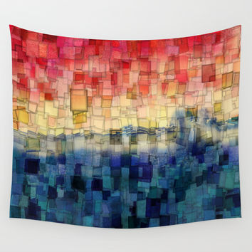 Blue Tide Mosaic Wall Tapestry by Aloke Photography & Design