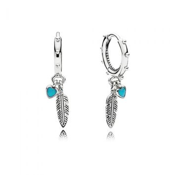 PANDORA Spiritual Feathers Dangle Earrings, Turquoise Enamel
