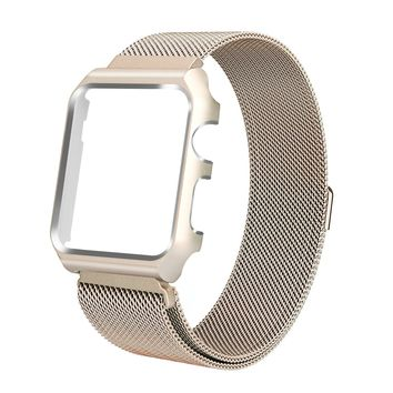 ALNBO 38mm Apple Watch Band Stainless Steel Mesh Magnetic Replacement Wrist Band with Metal Protective Case for Apple Watch Series 3 Series 2 Series 1 Sport&Edition Retro Gold