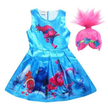 ONETOW Cartoon Trolls Dress for Girls Summer Children Gown Dress with wig hair  Princess Wedding Party  Kids costume