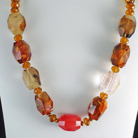 MultiColor Agate Necklace with Cherry Quartz by BellaSweetJewelry