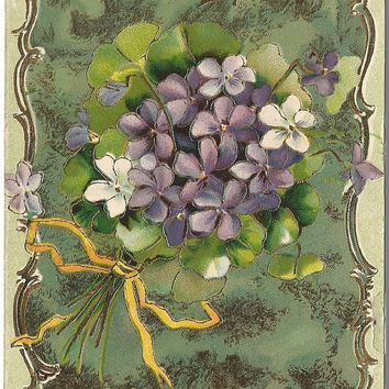 Bouquet of White Violets & Purple Violets on Dark Green Background with Gold Gild 1909 Vintage Postcard