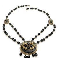 Art Deco Czech Glass Festoon Necklace, Two Strands of Black Beads, Center Oval Glass Stone, Brass Tone Leaves, Vintage, Gift for Her 1930's