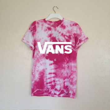 Unisex Hand Printed & Customized Vans off the Wall Tie Dye Tee in Pink