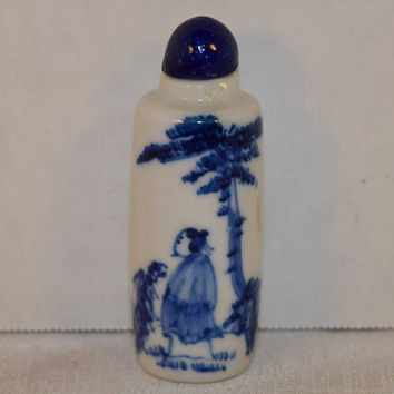 Blue & White Snuff Bottle Vintage Asian Man Cobalt Blue Asian Bottle Oriental Theme Snuff Bottle Blue and White Tobacciana Collectible