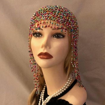 1920s style FULLY Beaded Multi-Color Mardi Gras Fringe FLAPPER Head cap skull headpiece Gatsby Art Deco Bead Tassel Headwear Headdress Wig