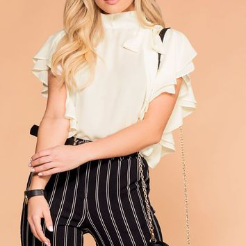 Make A Statement Ivory Ruffle Blouse