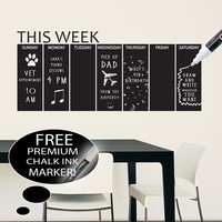 Vinyl Chalkboard Weekly Calendar Wall Decal