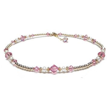 14K GF Pastel Pink Tourmaline Crystal Beaded Birthstone Anklets, October Birthstone Swarovski Crystals