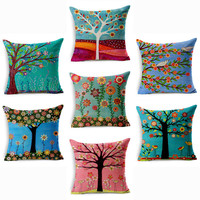 Colorful Season Life Tree Cushion Cover Car Waist Throw Pillow Cover 18x18 inches Pillowcase Home Decor