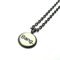 Bang Big Bang Word Mini Pendant Brass Setting Library Card Necklace One of a Kind