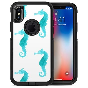 Blue Watercolor Seahorses - iPhone X OtterBox Case & Skin Kits